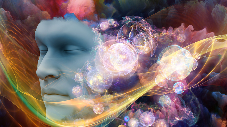 Dream Wave series. Arrangement of human face and colorful fractal clouds on the subject of dreams mind spirituality imagination and inner world
